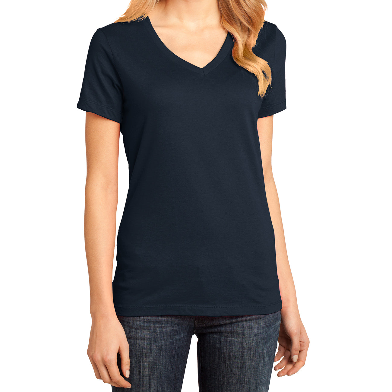 Ladies Perfect Weight V-Neck Tee - New Navy - Front