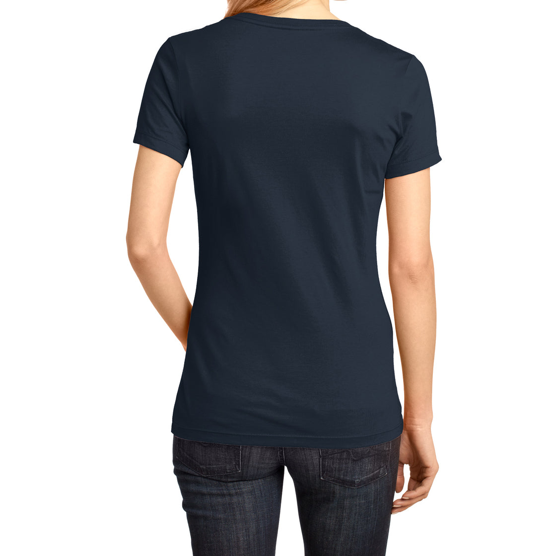 Ladies Perfect Weight V-Neck Tee - New Navy - Back