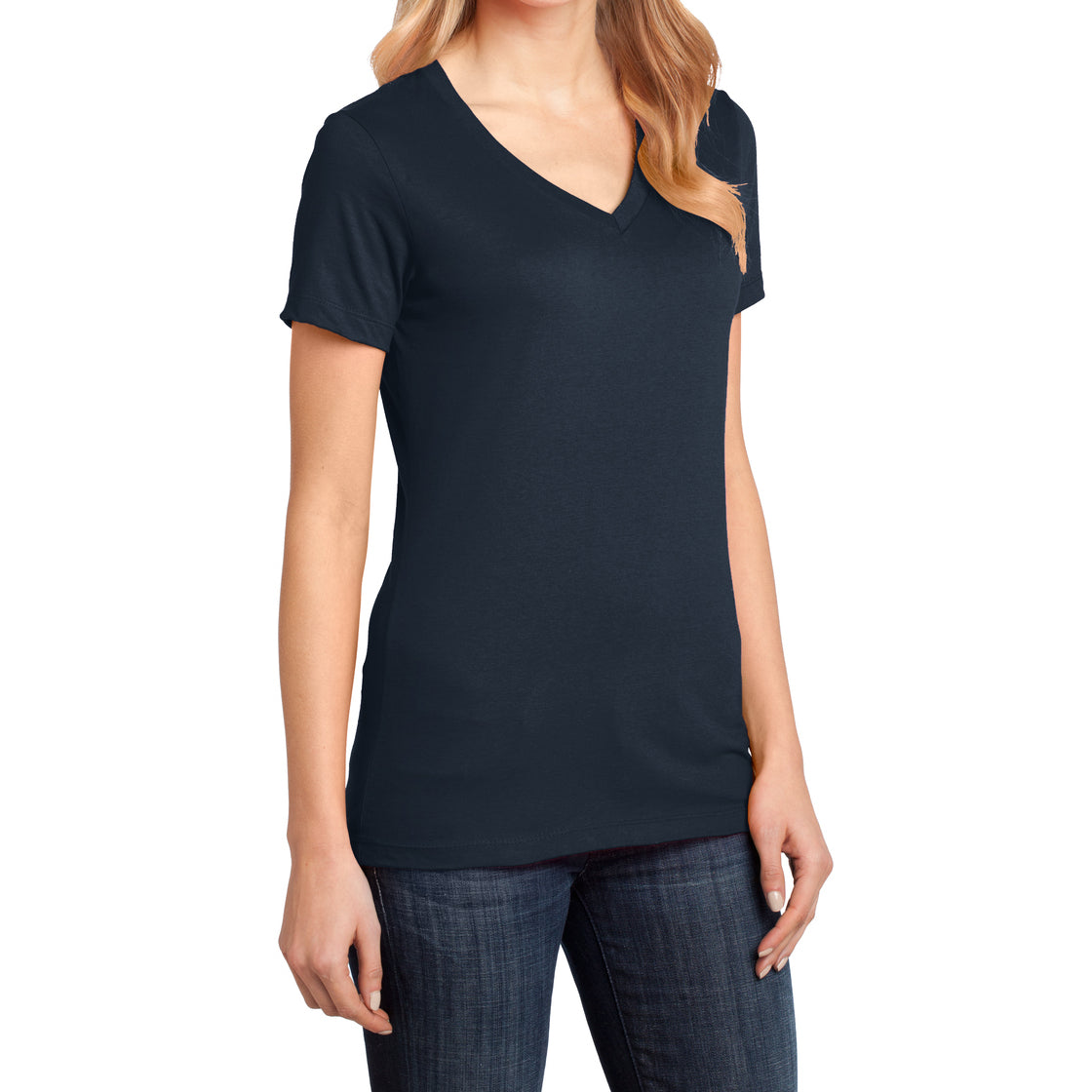 Ladies Perfect Weight V-Neck Tee - New Navy - Side
