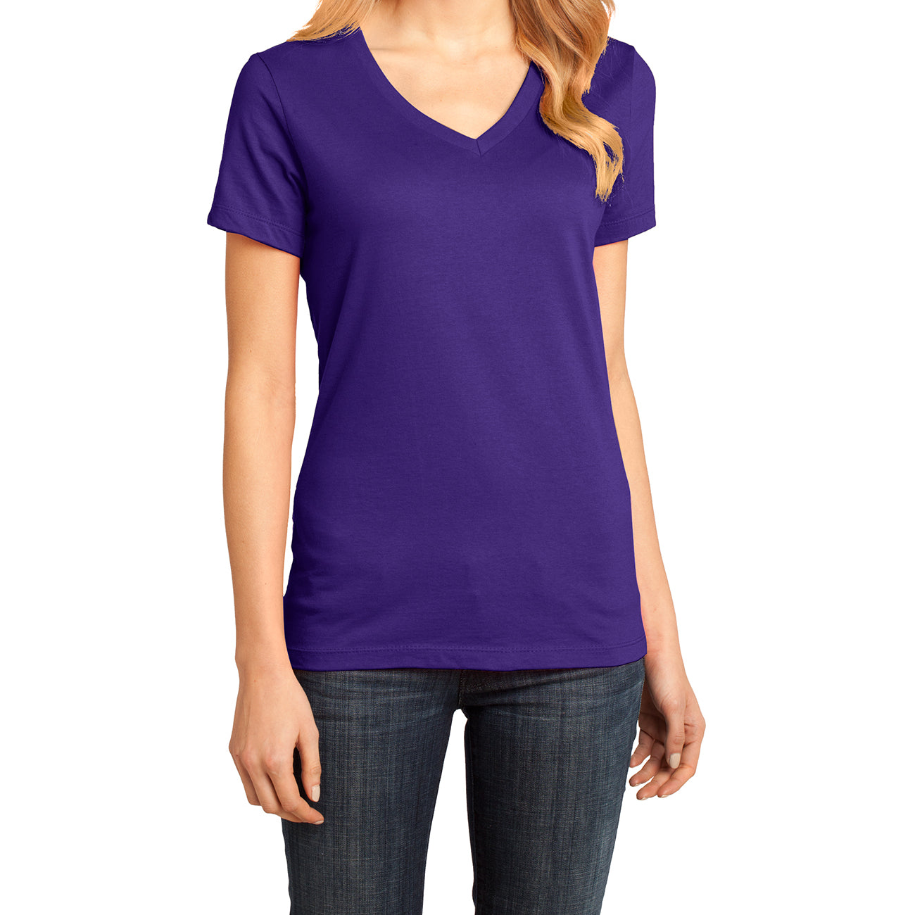 Ladies Perfect Weight V-Neck Tee - Purple - Front