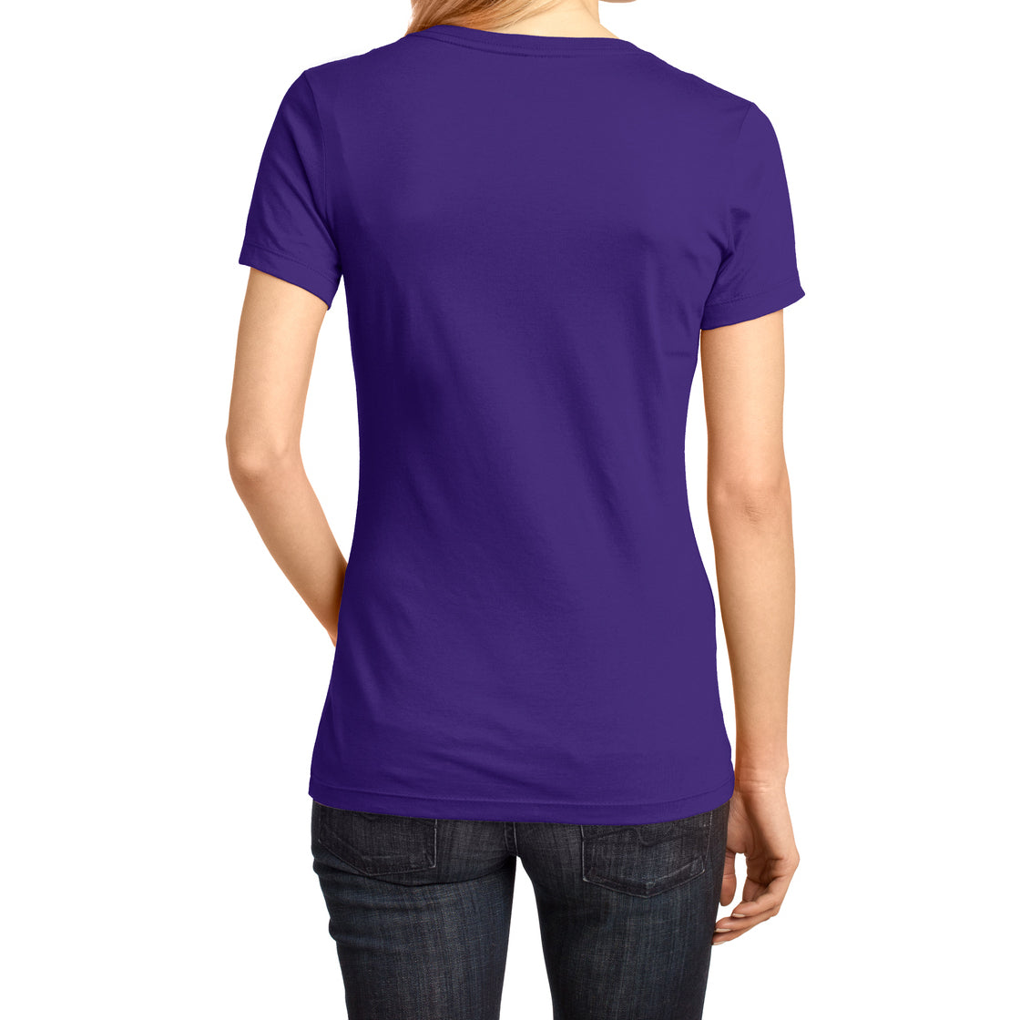 Ladies Perfect Weight V-Neck Tee - Purple - Back