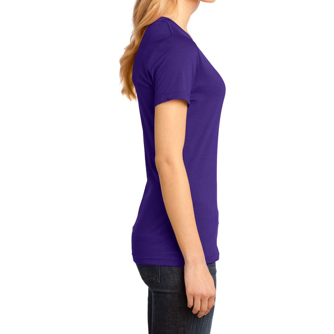 Ladies Perfect Weight V-Neck Tee - Purple - Side