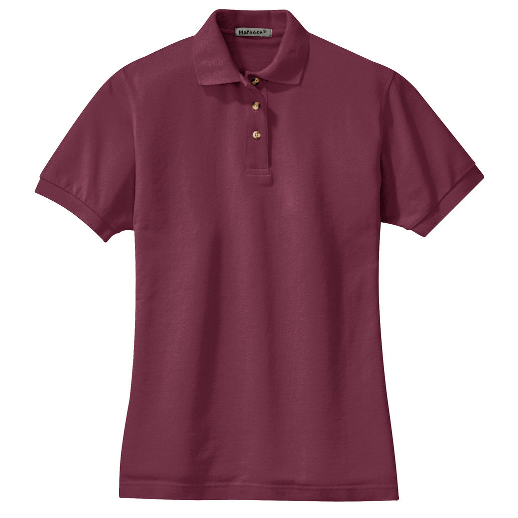 Mafoose Women's Heavyweight Cotton Pique Polo Shirt Burgundy-Front