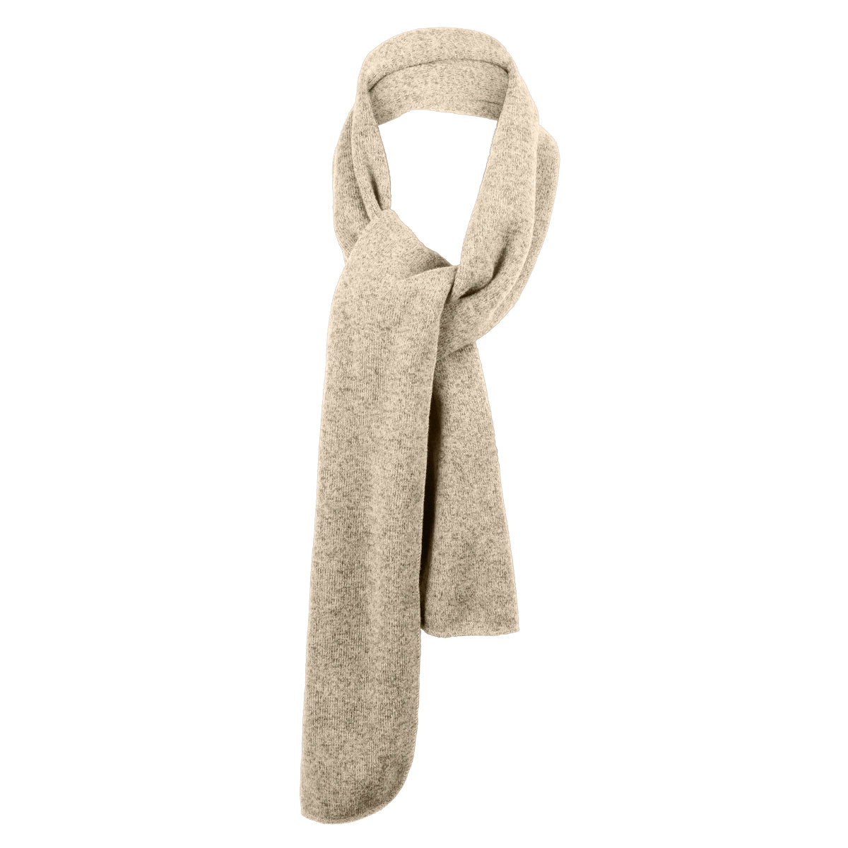 Heathered Knit Scarf Oatmeal Heather/ Brown