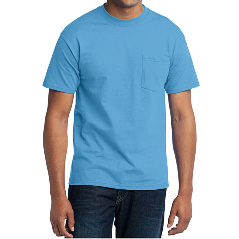 Men's Core Blend Pocket Tee - Aquatic Blue – Front