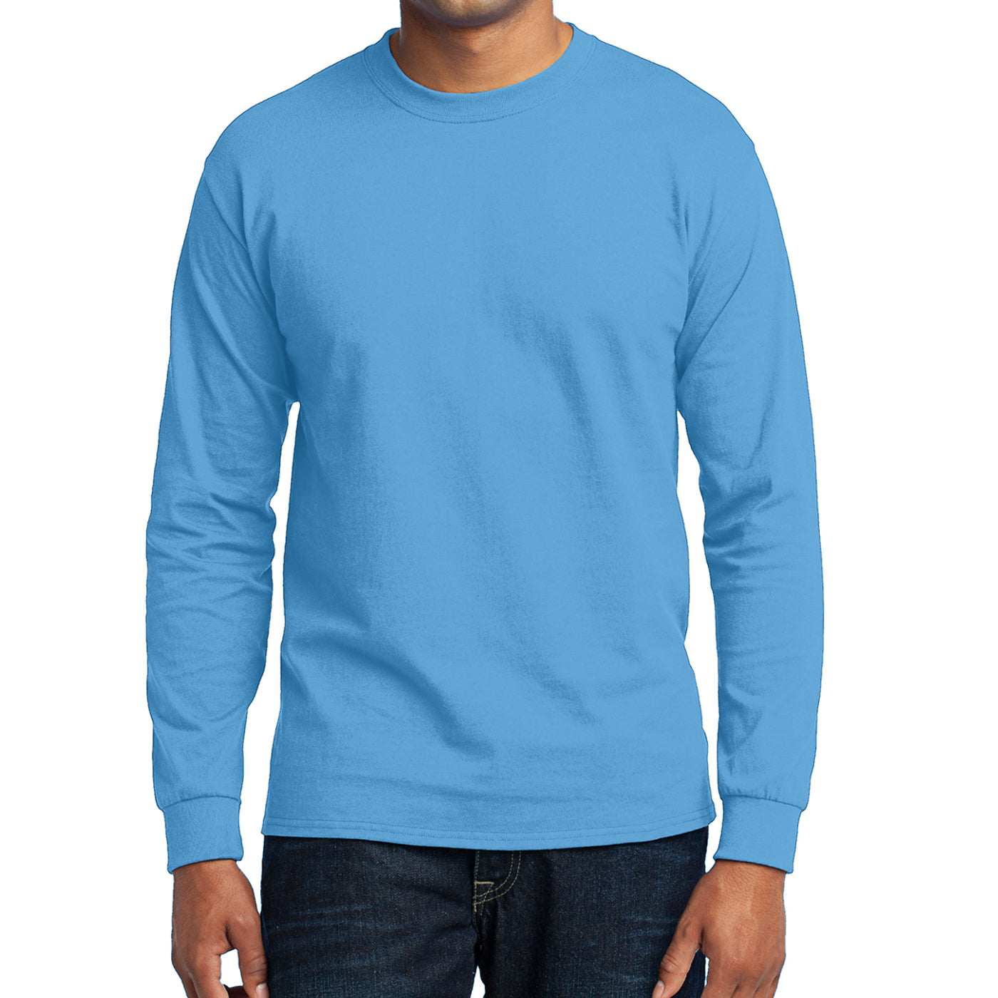 Men's Long Sleeve Core Blend Tee - Aquatic Blue – Front