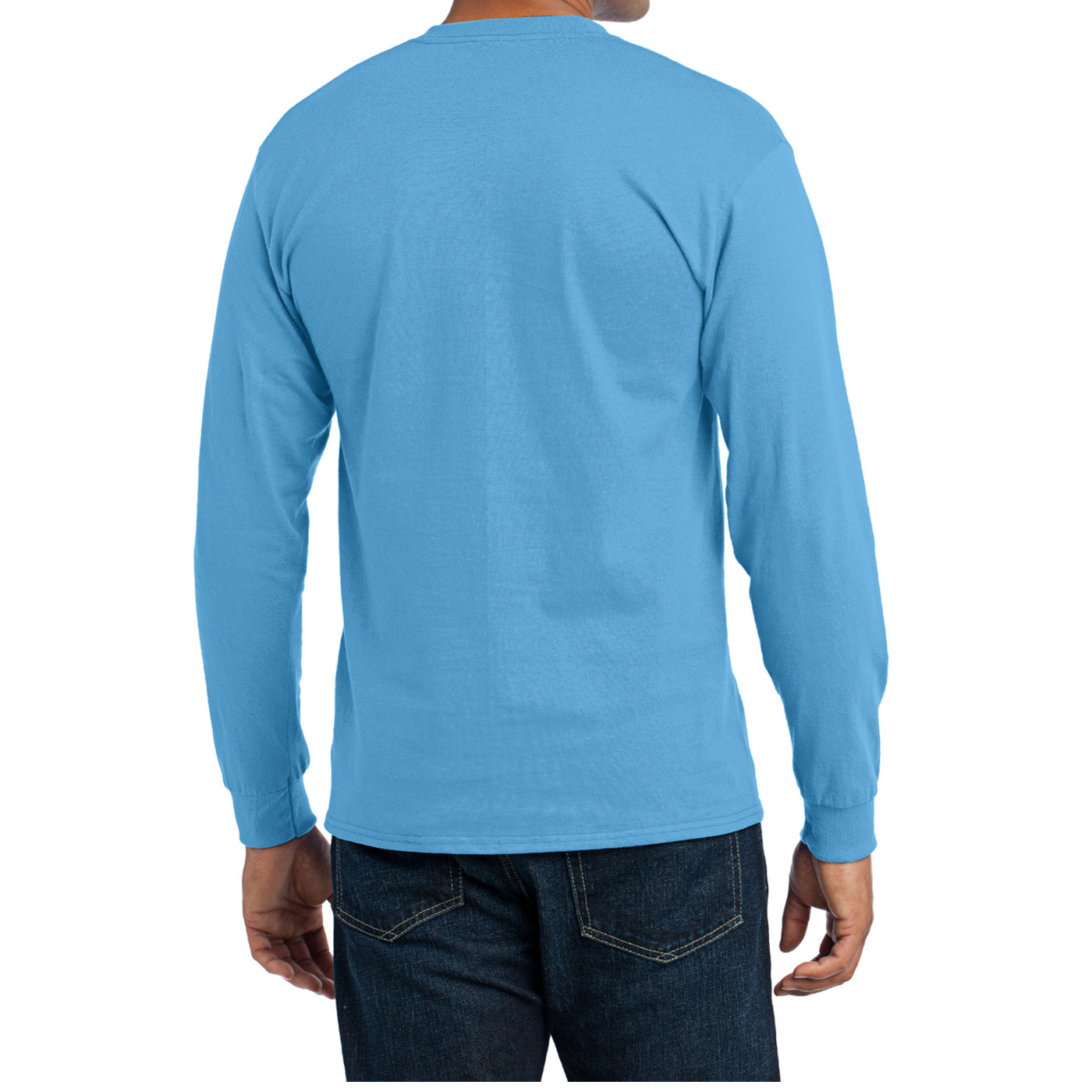 Men's Long Sleeve Core Blend Tee - Aquatic Blue – Back