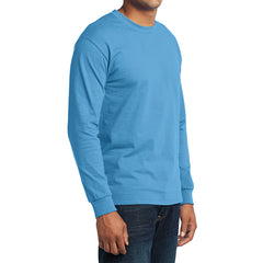 Men's Long Sleeve Core Blend Tee - Aquatic Blue – Side