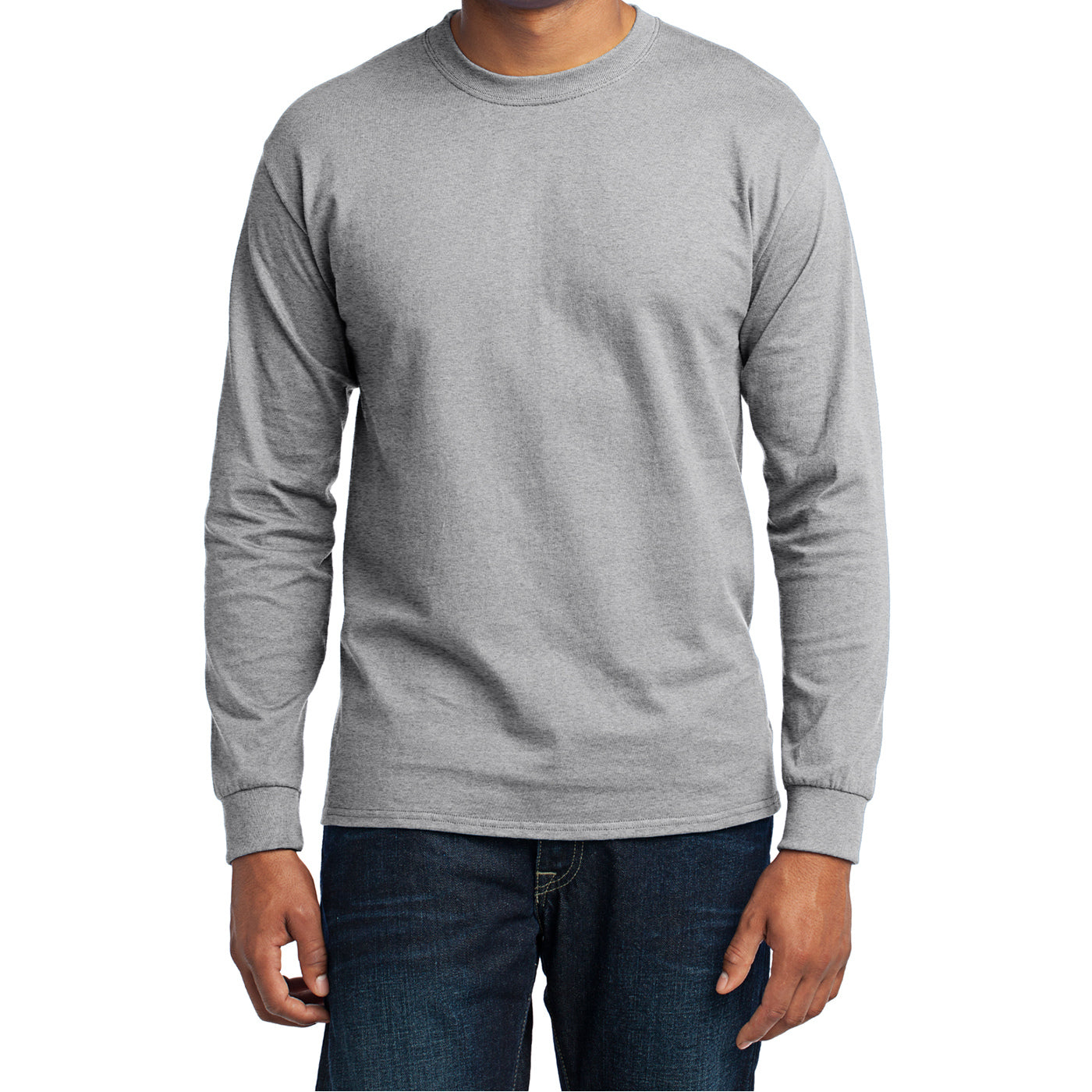 Men's Long Sleeve Core Blend Tee - Ash – Front