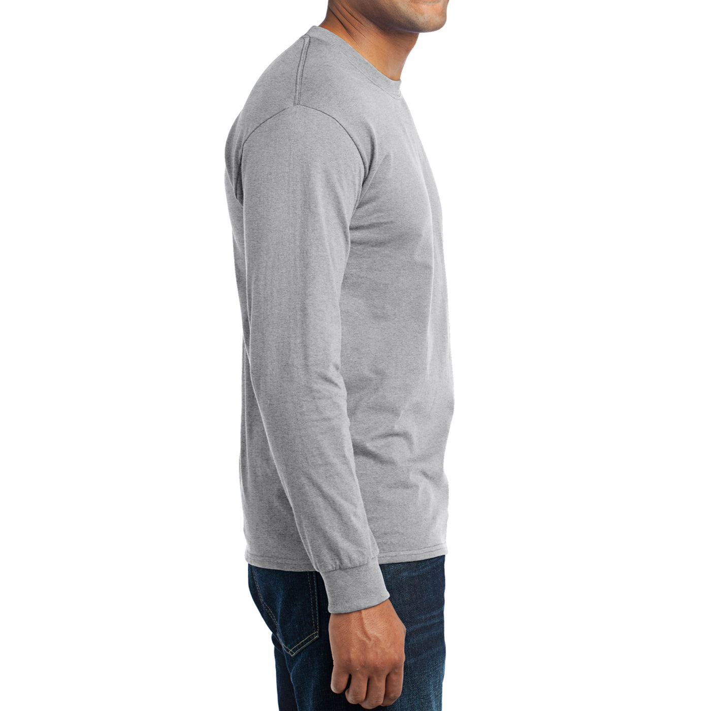 Men's Long Sleeve Core Blend Tee - Ash – Side