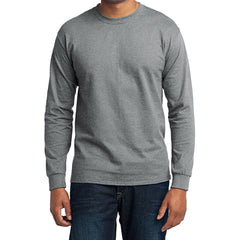 Men's Long Sleeve Core Blend Tee - Athletic Heather – Front