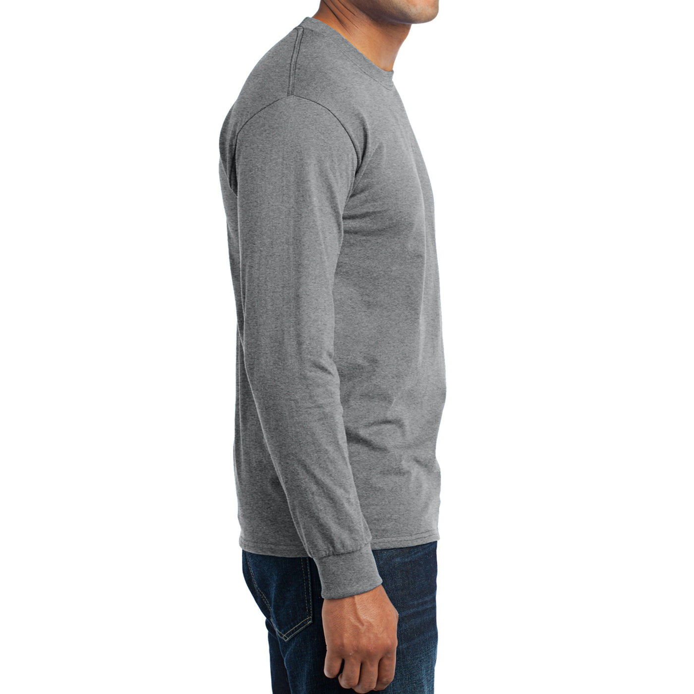 Men's Long Sleeve Core Blend Tee - Athletic Heather – Side