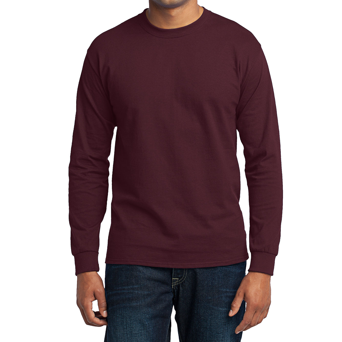 Men's Long Sleeve Core Blend Tee - Athletic Maroon – Front