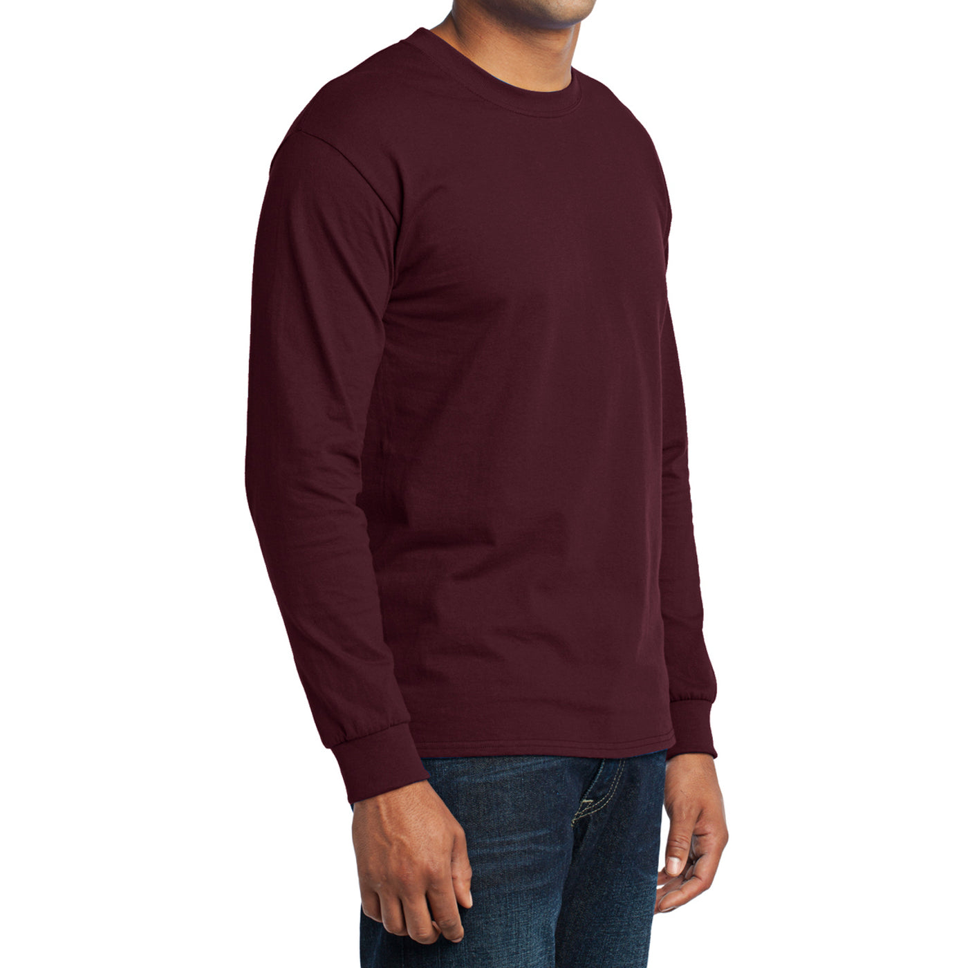 Men's Long Sleeve Core Blend Tee - Athletic Maroon – Side