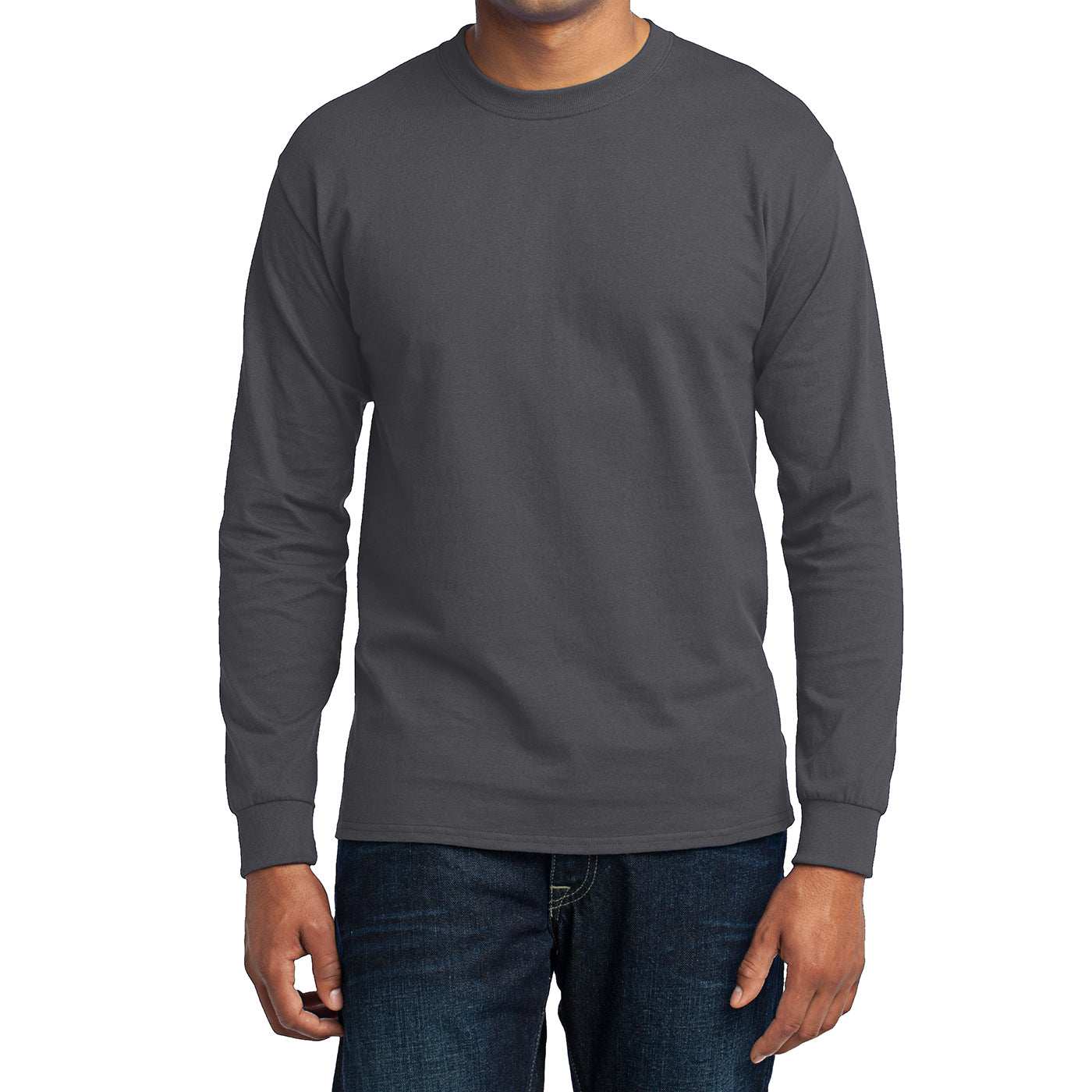 Men's Long Sleeve Core Blend Tee - Charcoal – Front