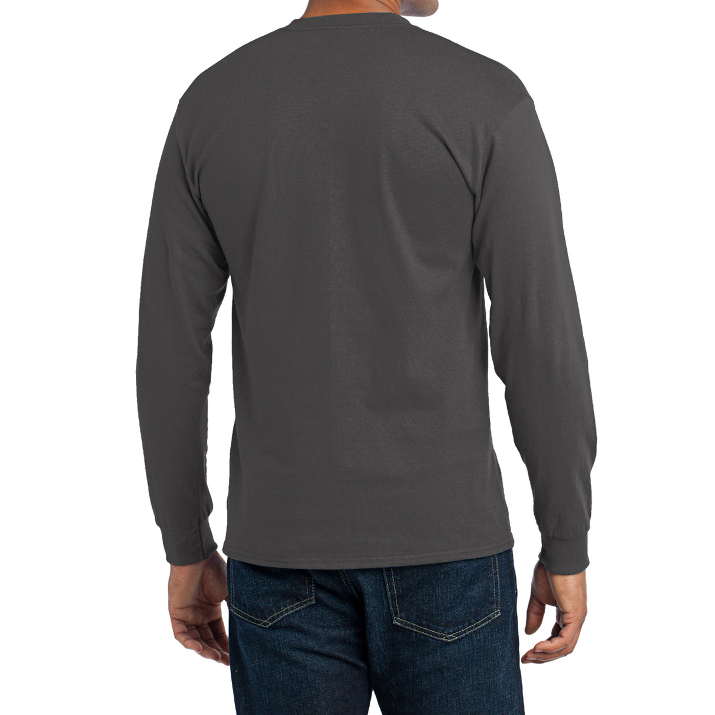 Men's Long Sleeve Core Blend Tee - Charcoal – Back