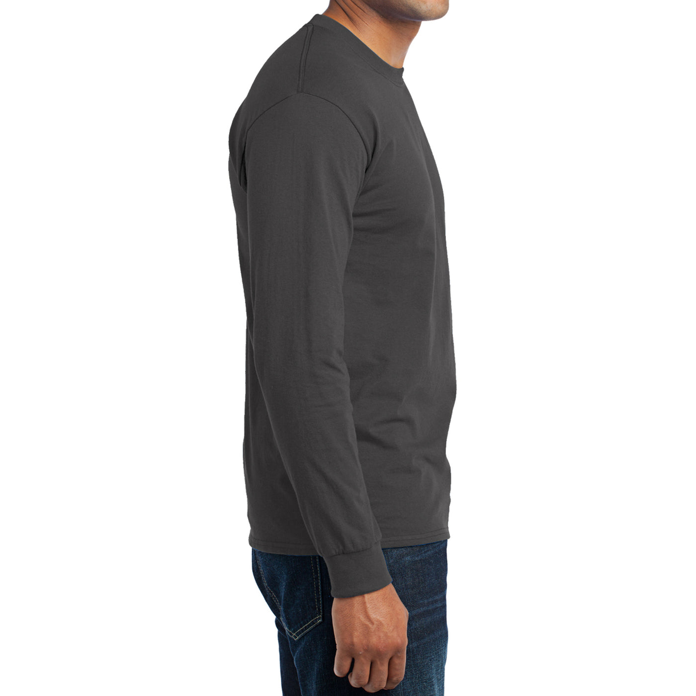 Men's Long Sleeve Core Blend Tee - Charcoal – Side