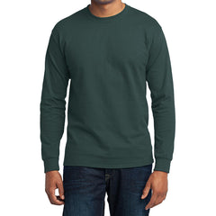 Men's Long Sleeve Core Blend Tee - Dark Green – Front