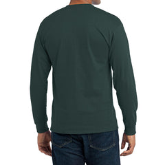 Men's Long Sleeve Core Blend Tee - Dark Green – Back