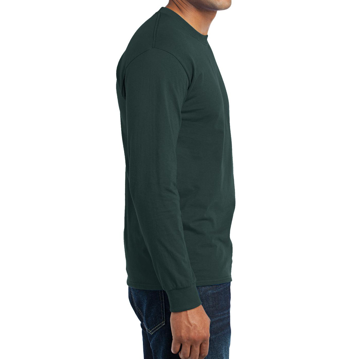Men's Long Sleeve Core Blend Tee - Dark Green – Side
