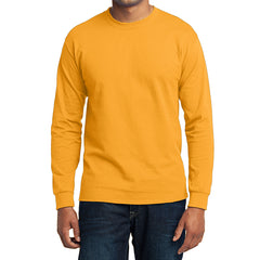 Men's Long Sleeve Core Blend Tee - Gold – Front