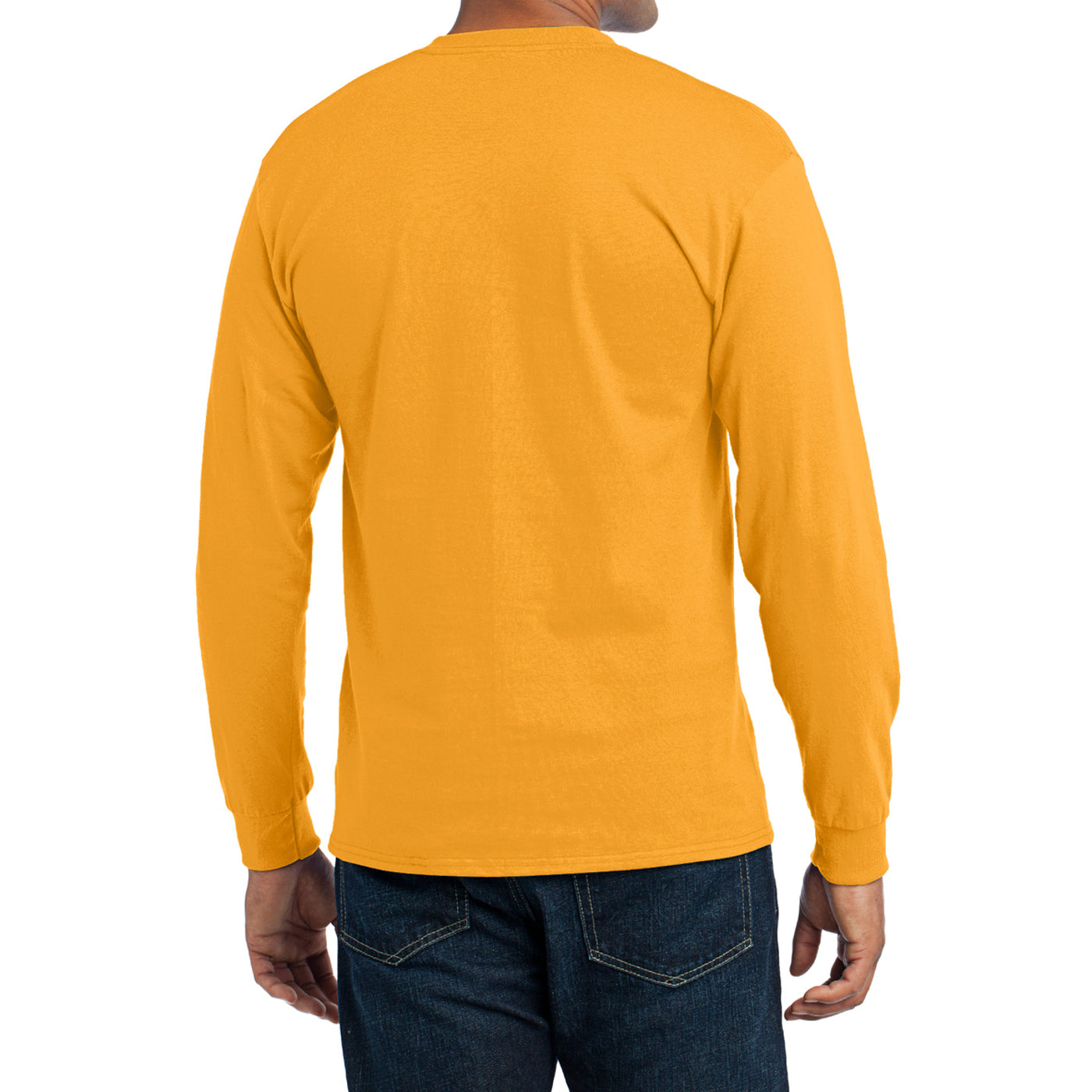 Men's Long Sleeve Core Blend Tee - Gold – Back
