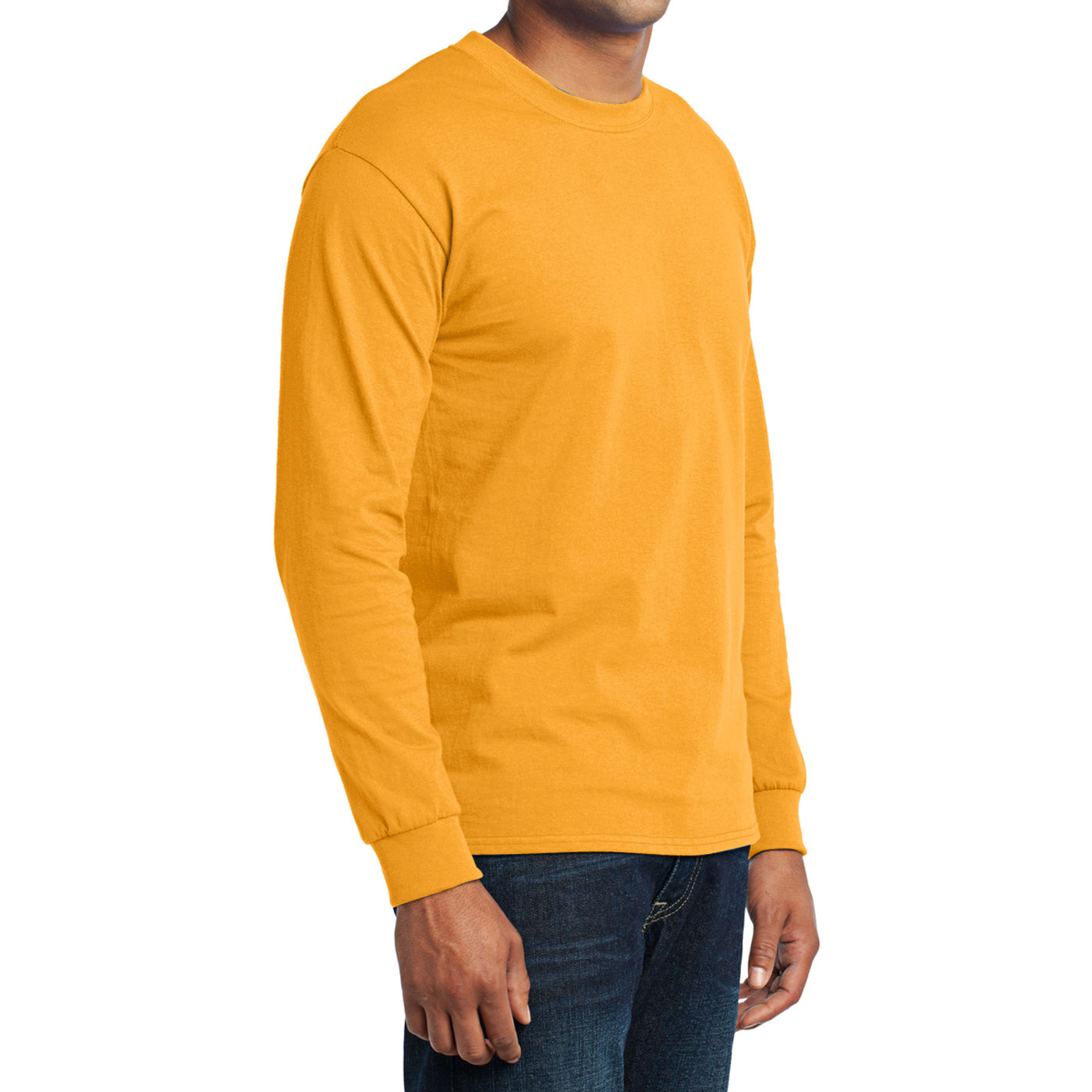 Men's Long Sleeve Core Blend Tee - Gold – Side