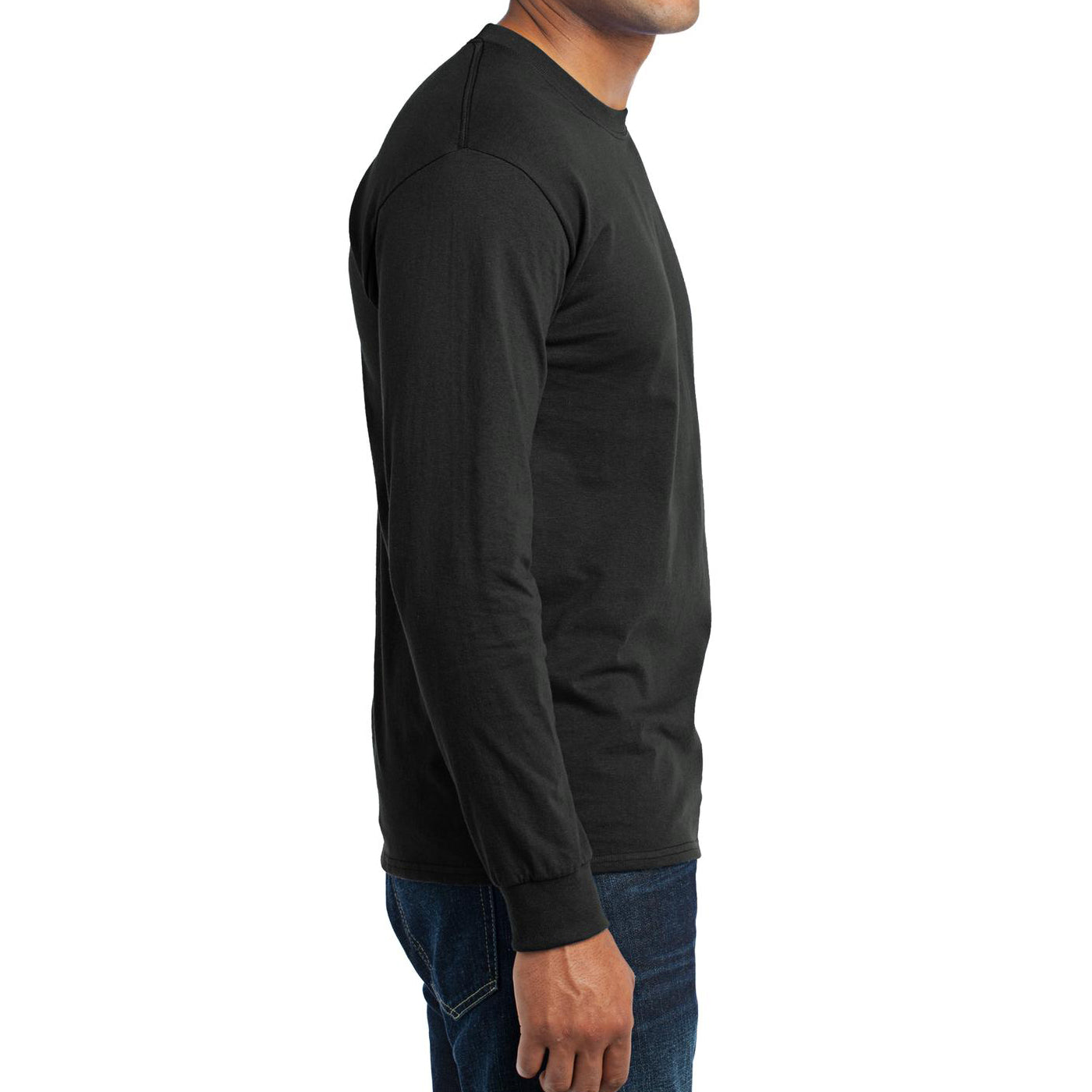Men's Long Sleeve Core Blend Tee - Jet Black – Side
