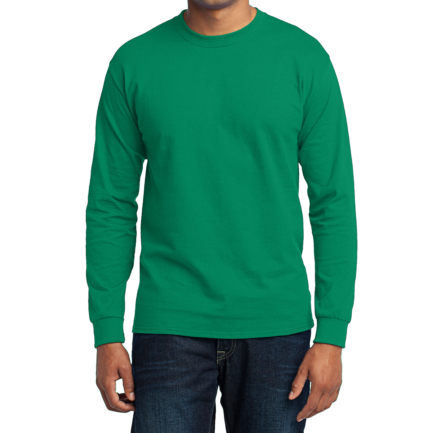Men's Long Sleeve Core Blend Tee - Kelly – Front
