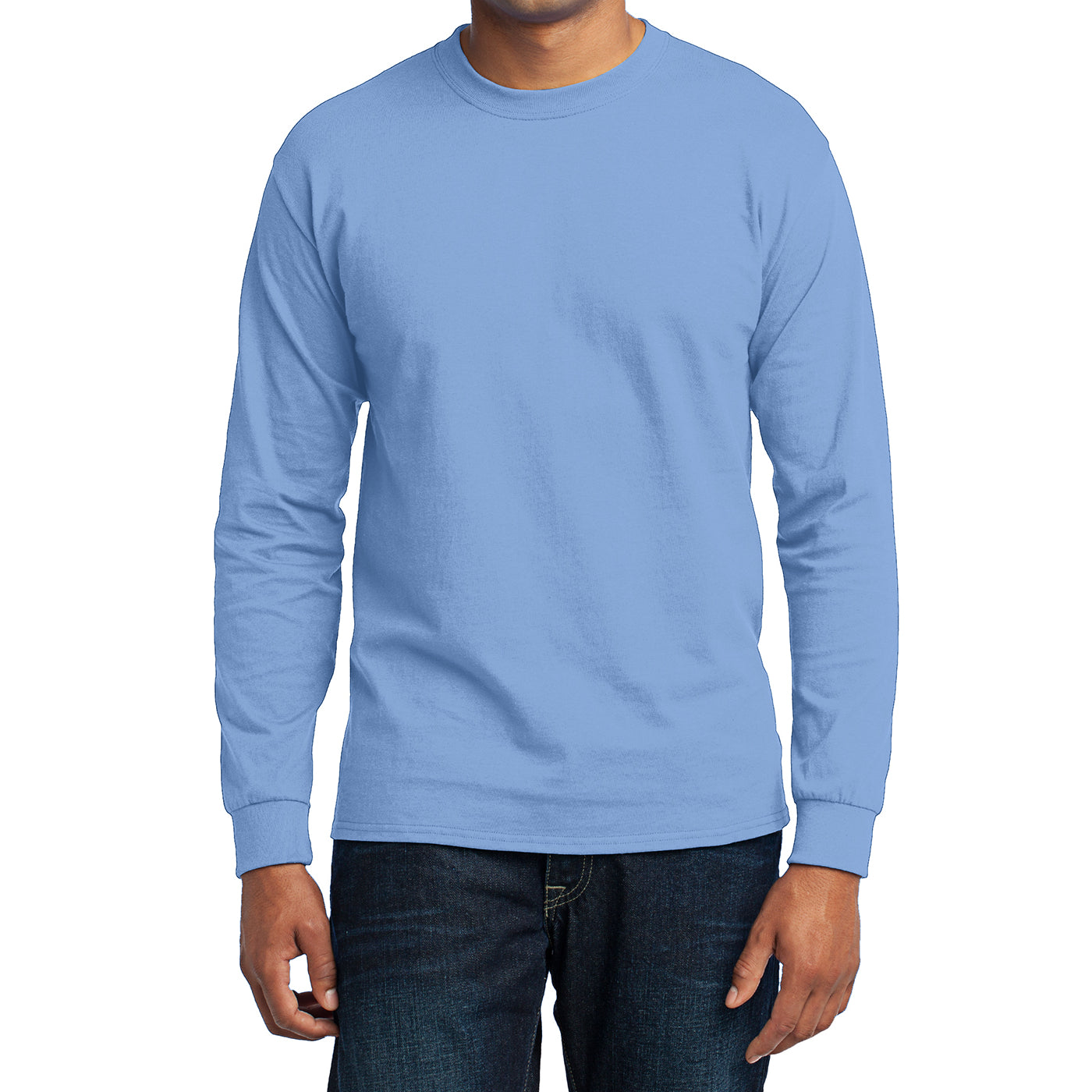 Men's Long Sleeve Core Blend Tee - Light Blue – Front