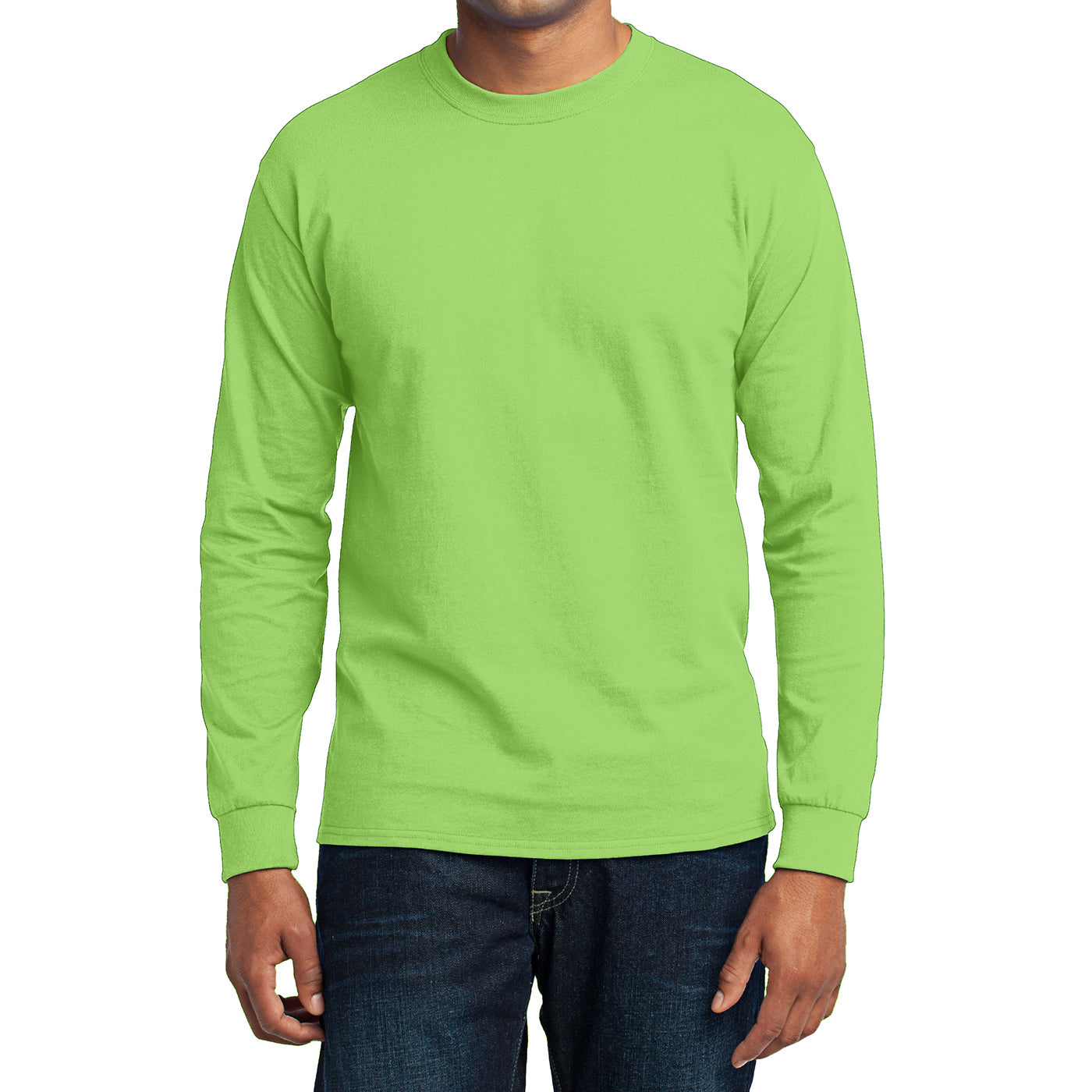 Men's Long Sleeve Core Blend Tee - Lime – Front