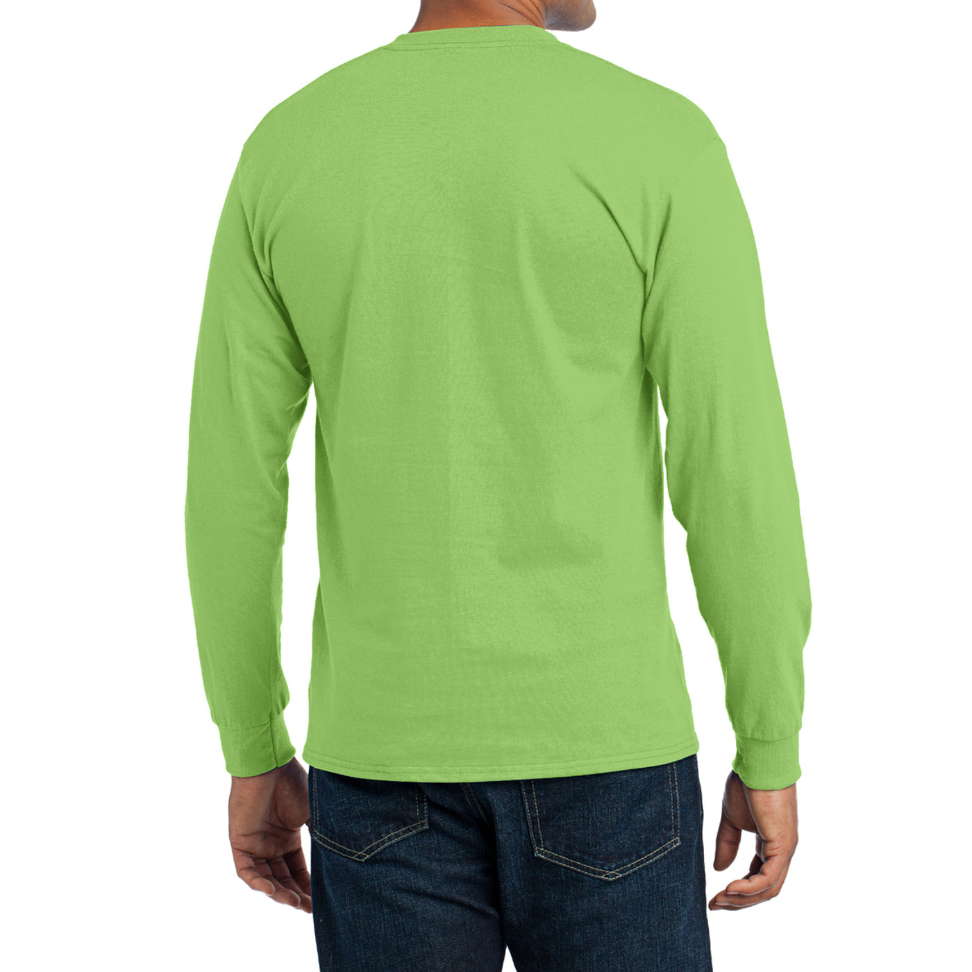 Men's Long Sleeve Core Blend Tee - Lime – Back