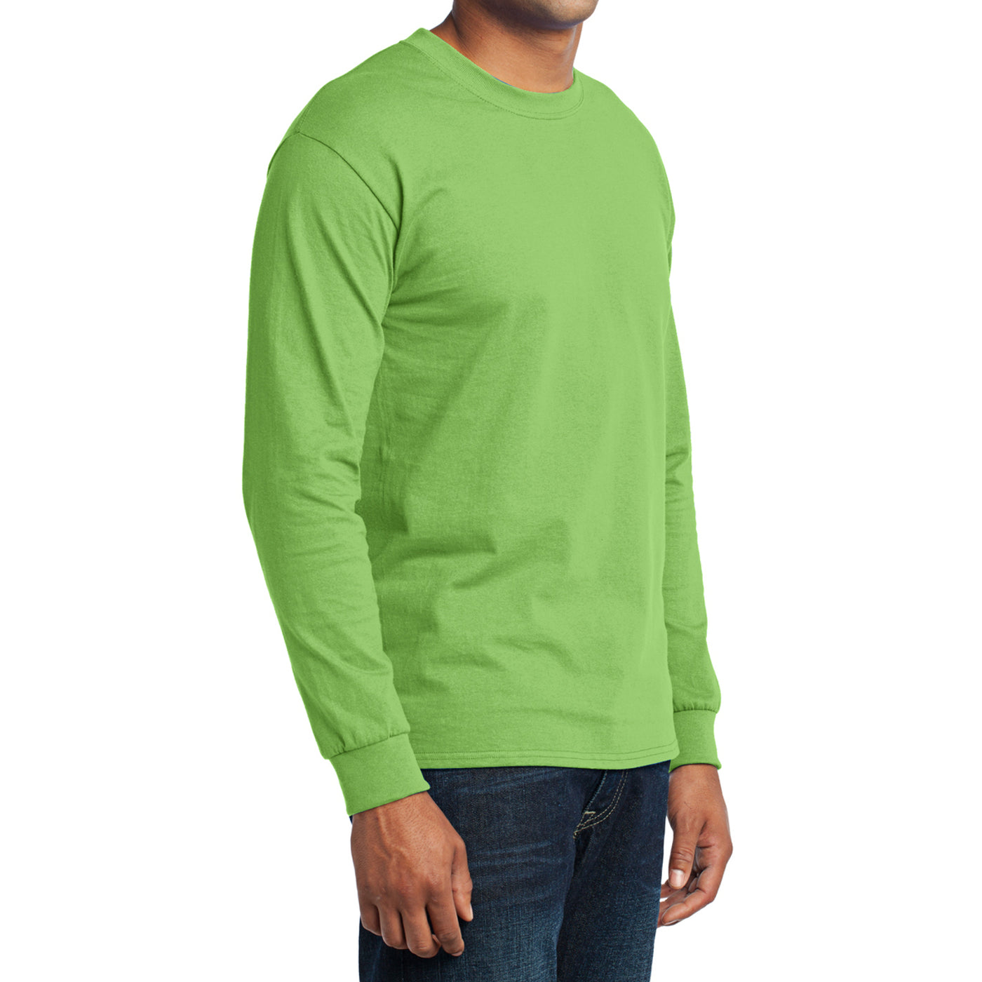 Men's Long Sleeve Core Blend Tee - Lime – Side