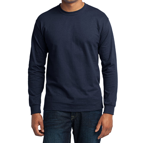 Men's Long Sleeve Core Blend Tee - Navy – Front