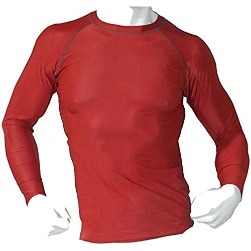 Men's Fitness Workout Base Layer Compression Shirt Long Sleeve - Red