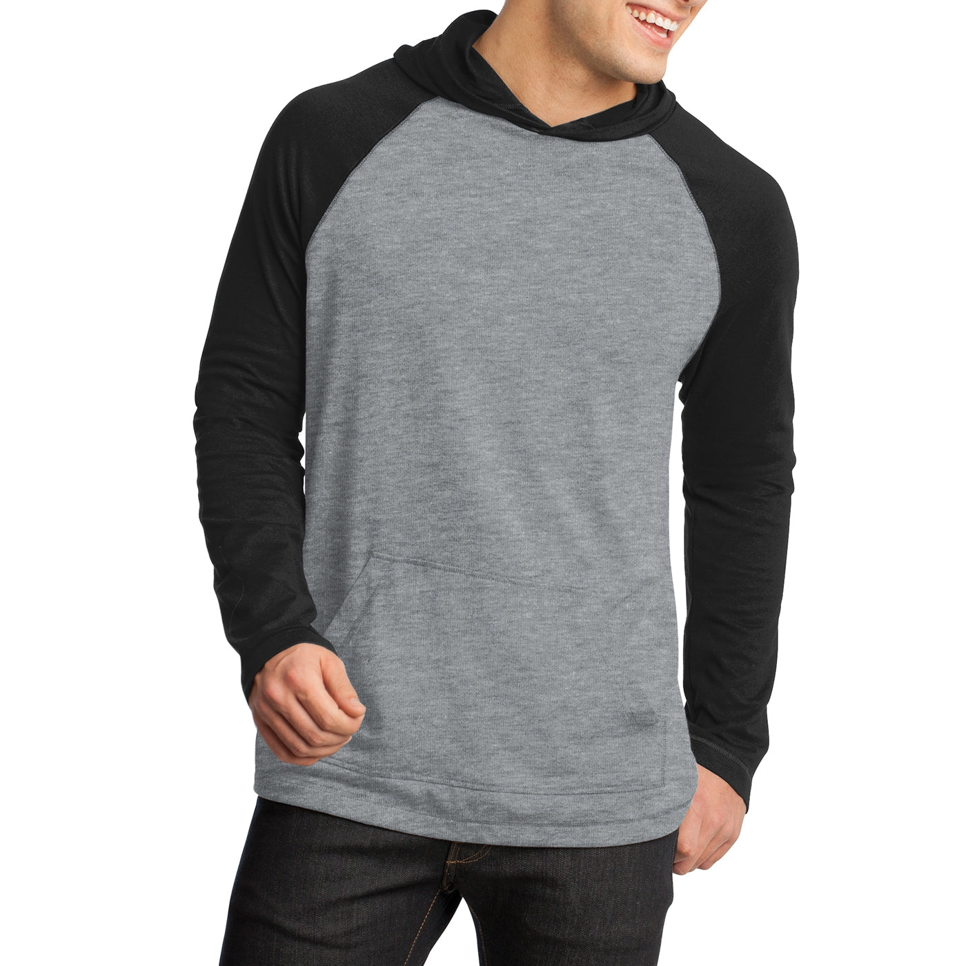 Men's Young 50/50 Raglan Hoodie - Black/ Heathered Nickel