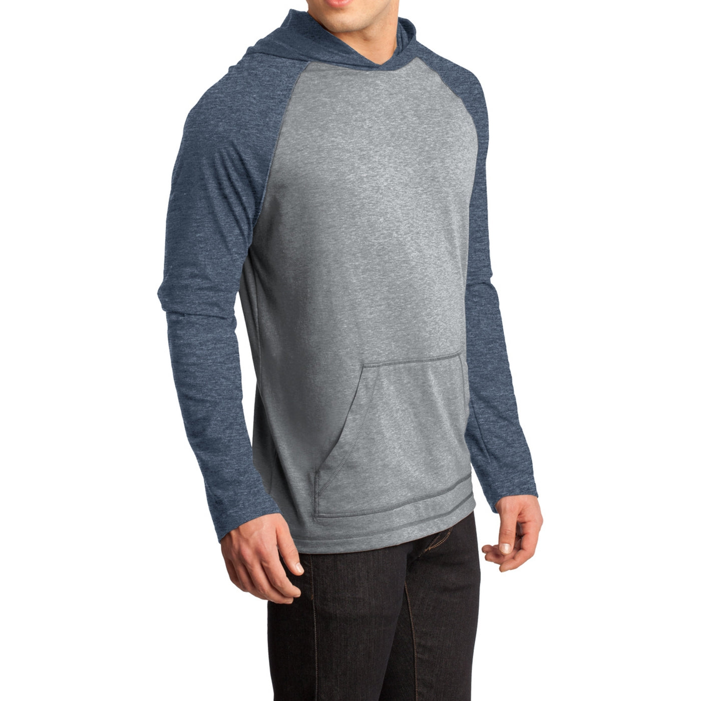 Men's Young 50/50 Raglan Hoodie - Heathered Dark Navy/ Heathered Nickel
