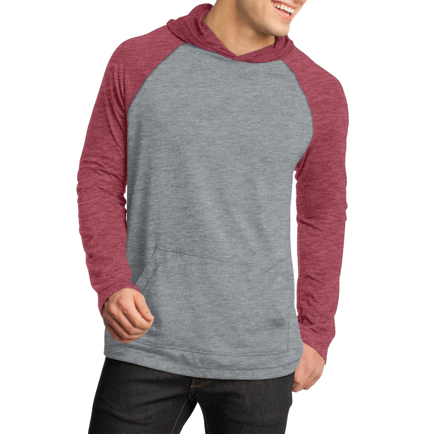 Men's Young 50/50 Raglan Hoodie - Heathered Deep Red/ Heathered Nickel