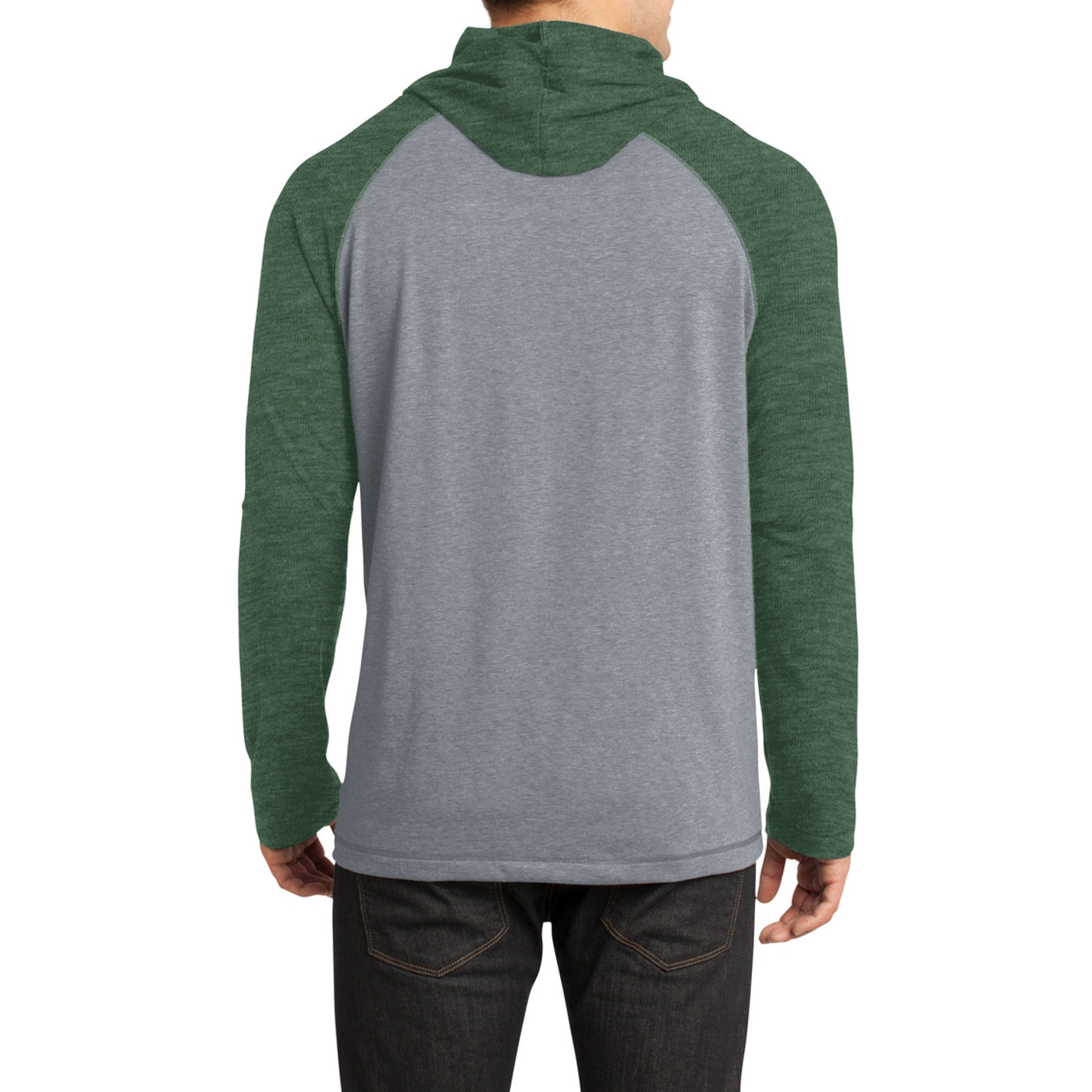 Men's Young 50/50 Raglan Hoodie - Heathered Forest Green/ Heathered Nickel