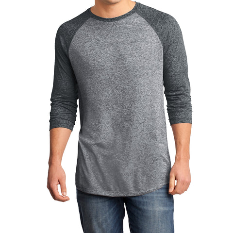 Men's Young  Microburn 3/4-Sleeve Raglan Tee - Black/ Heathered Nickel