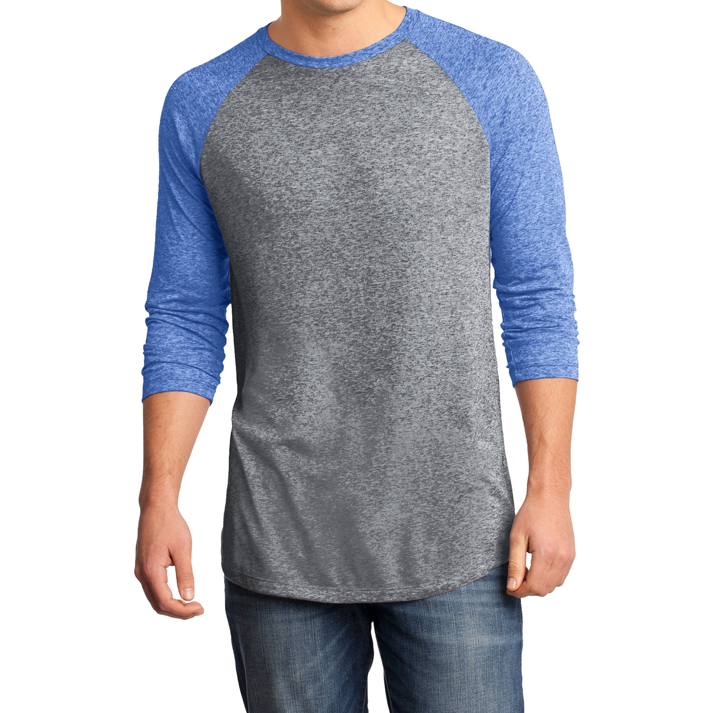 Men's Young  Microburn 3/4-Sleeve Raglan Tee - Deep Royal/ Heathered Nickel