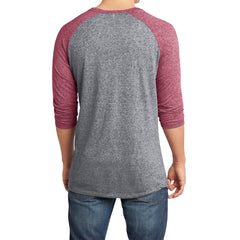Men's Young  Microburn 3/4-Sleeve Raglan Tee - Sangria/ Heathered Nickel