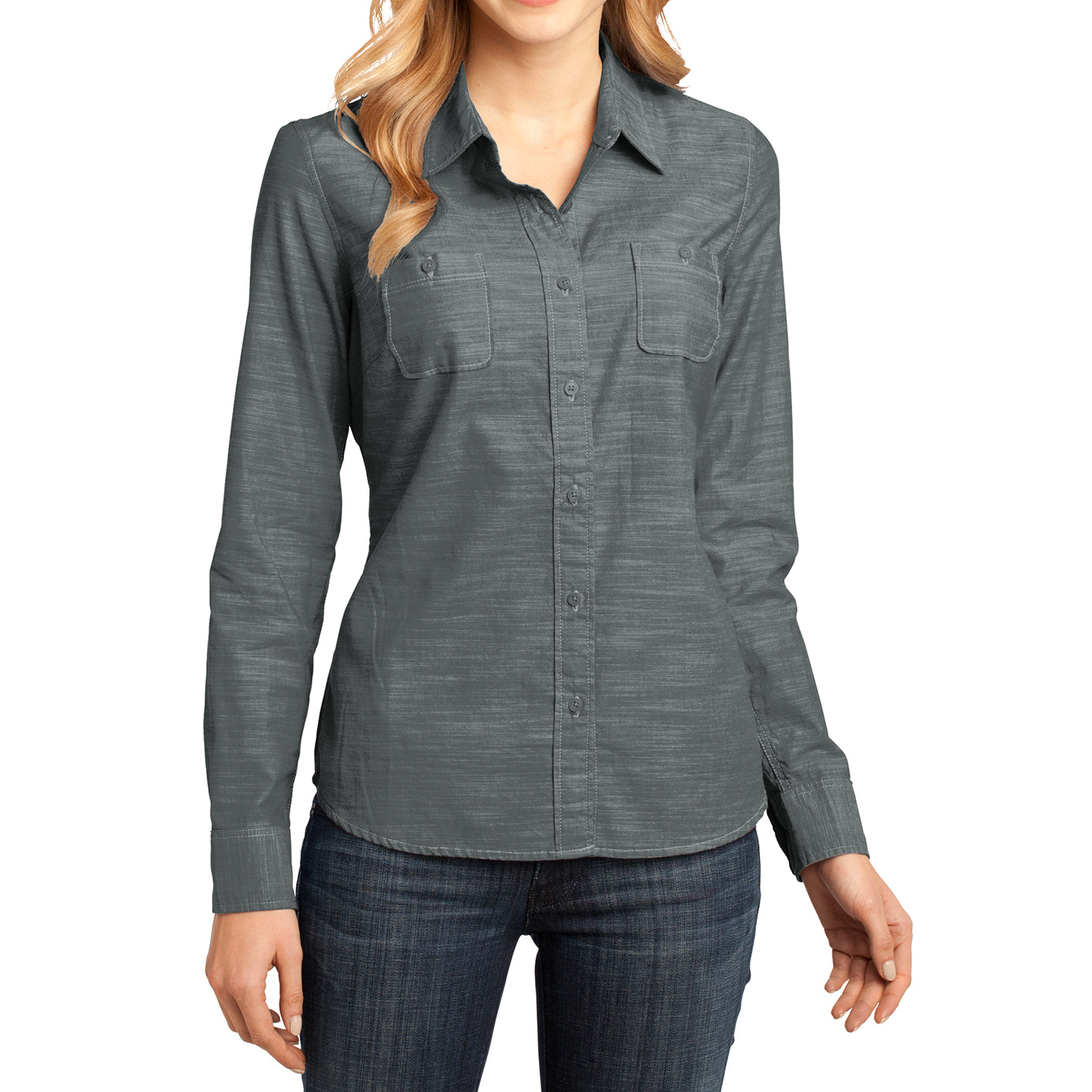 Womens Long Sleeve Washed Woven Shirt - Grey - Front