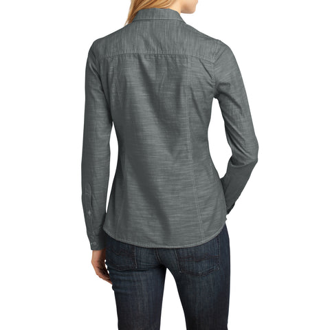 Womens Long Sleeve Washed Woven Shirt - Grey - Back