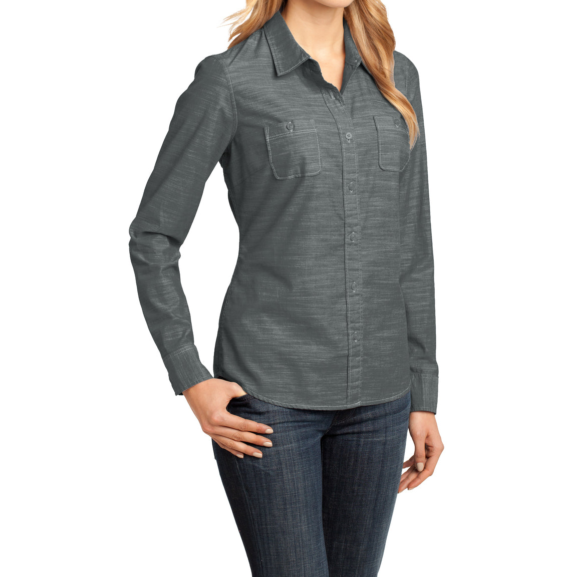 Womens Long Sleeve Washed Woven Shirt - Grey - Side