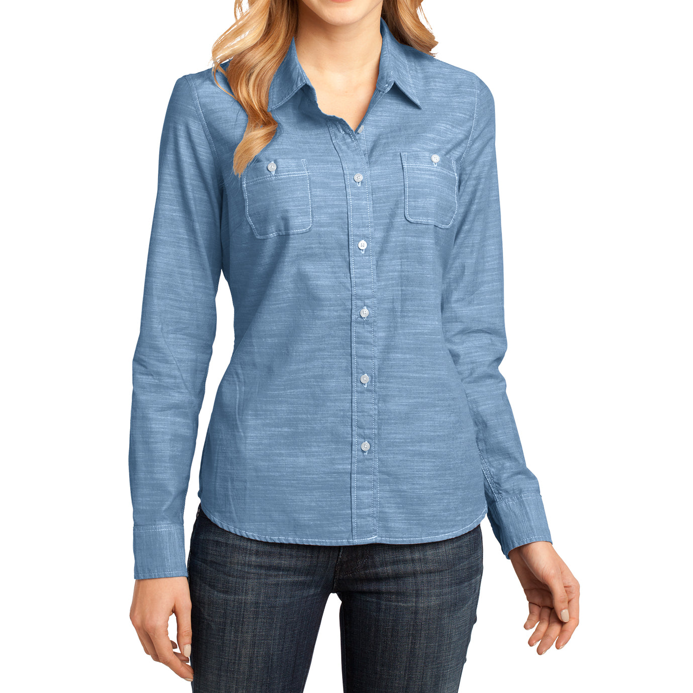 Womens Long Sleeve Washed Woven Shirt - Light Blue - Front