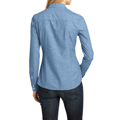 Womens Long Sleeve Washed Woven Shirt - Light Blue - Back