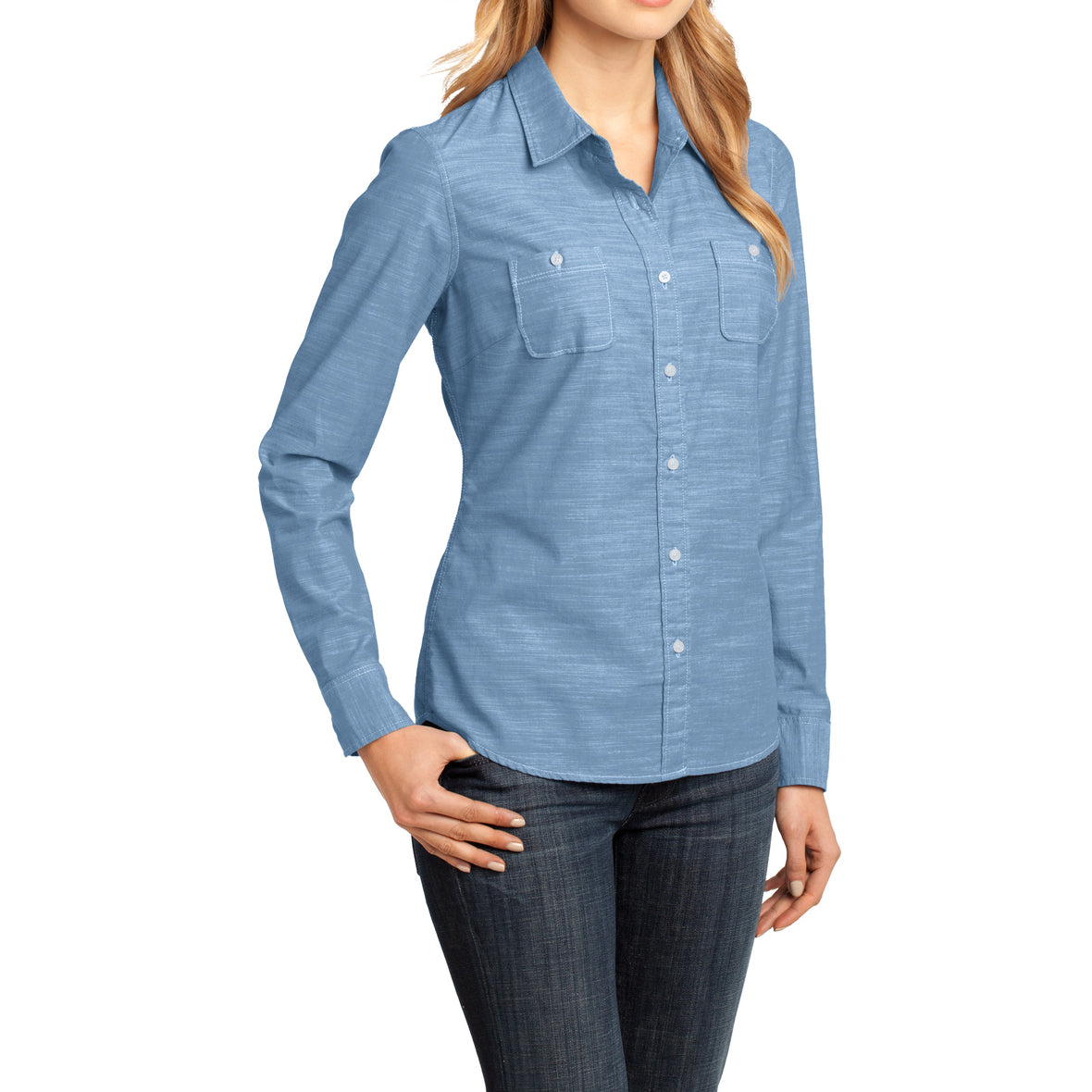 Womens Long Sleeve Washed Woven Shirt - Light Blue - Side