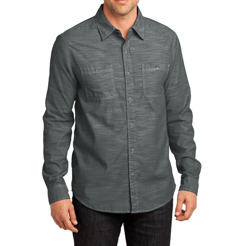 Mens Long Sleeve Washed Woven Shirt - Grey - Front
