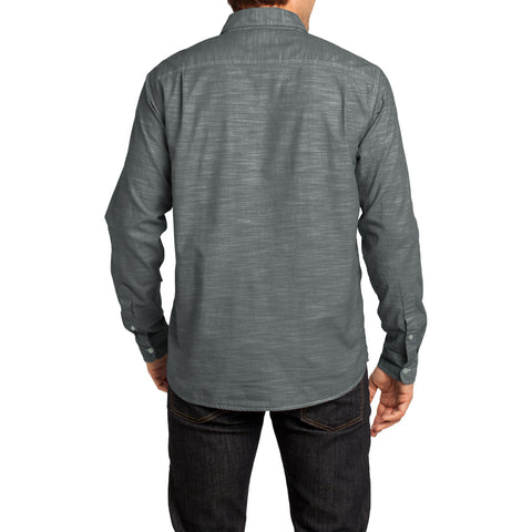 Mens Long Sleeve Washed Woven Shirt - Grey - Back
